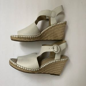 Marc Fisher White Leather Espadrille Wedges